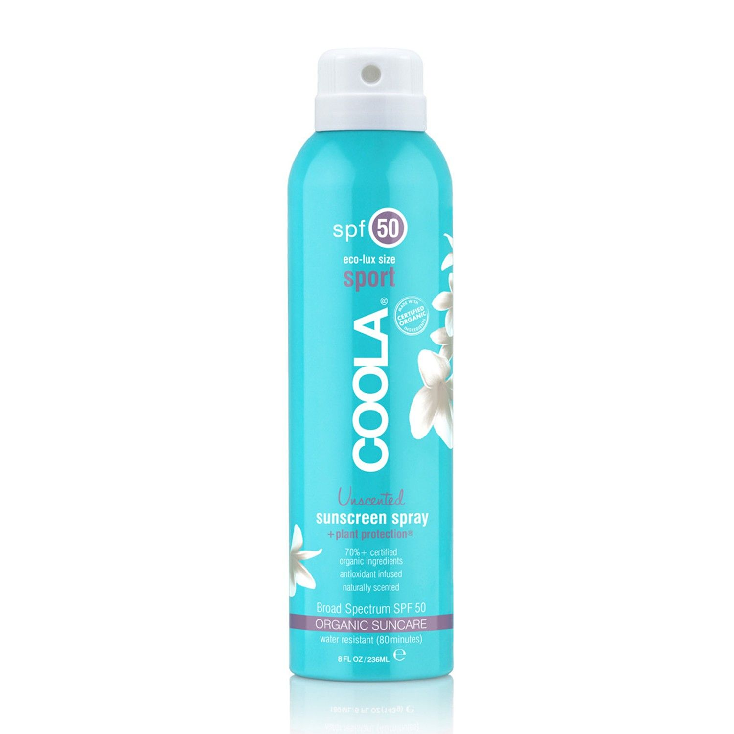 Buy COOLA spf 50 eco-lux size sport Unscented sunscreen spray (8 fl oz / 236 ml)