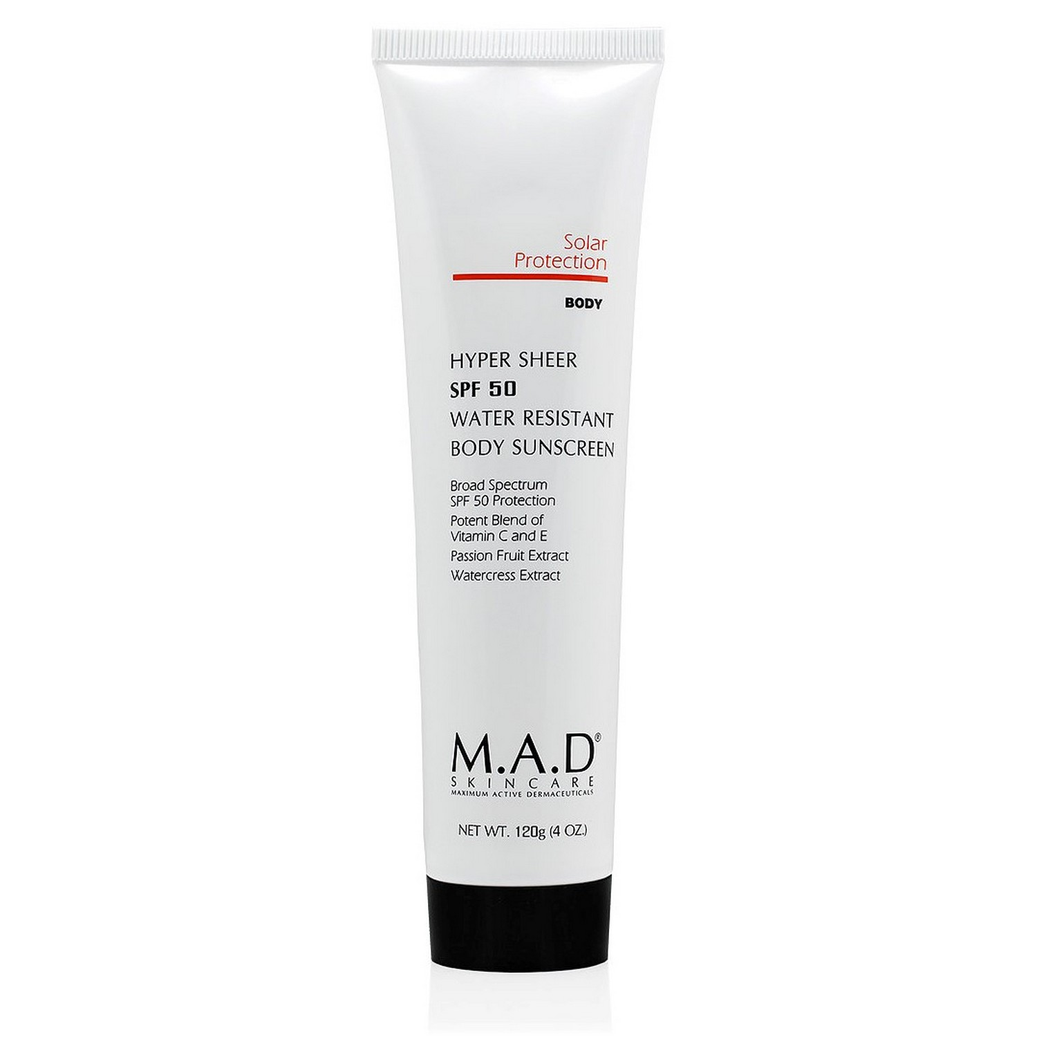 M.A.D SKINCARE HYPER SHEER SPF 50 WATER RESISTANT BODY SUNSCREEN (120 g / 4.0 oz)