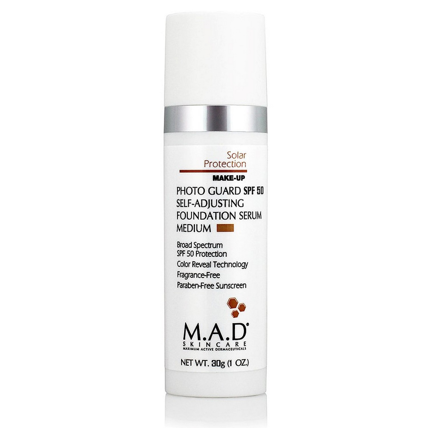 M.A.D SKINCARE PHOTO GUARD SPF 50 SELF-ADJUSTING FOUNDATION SERUM MEDIUM (30 g / 1.0 oz)