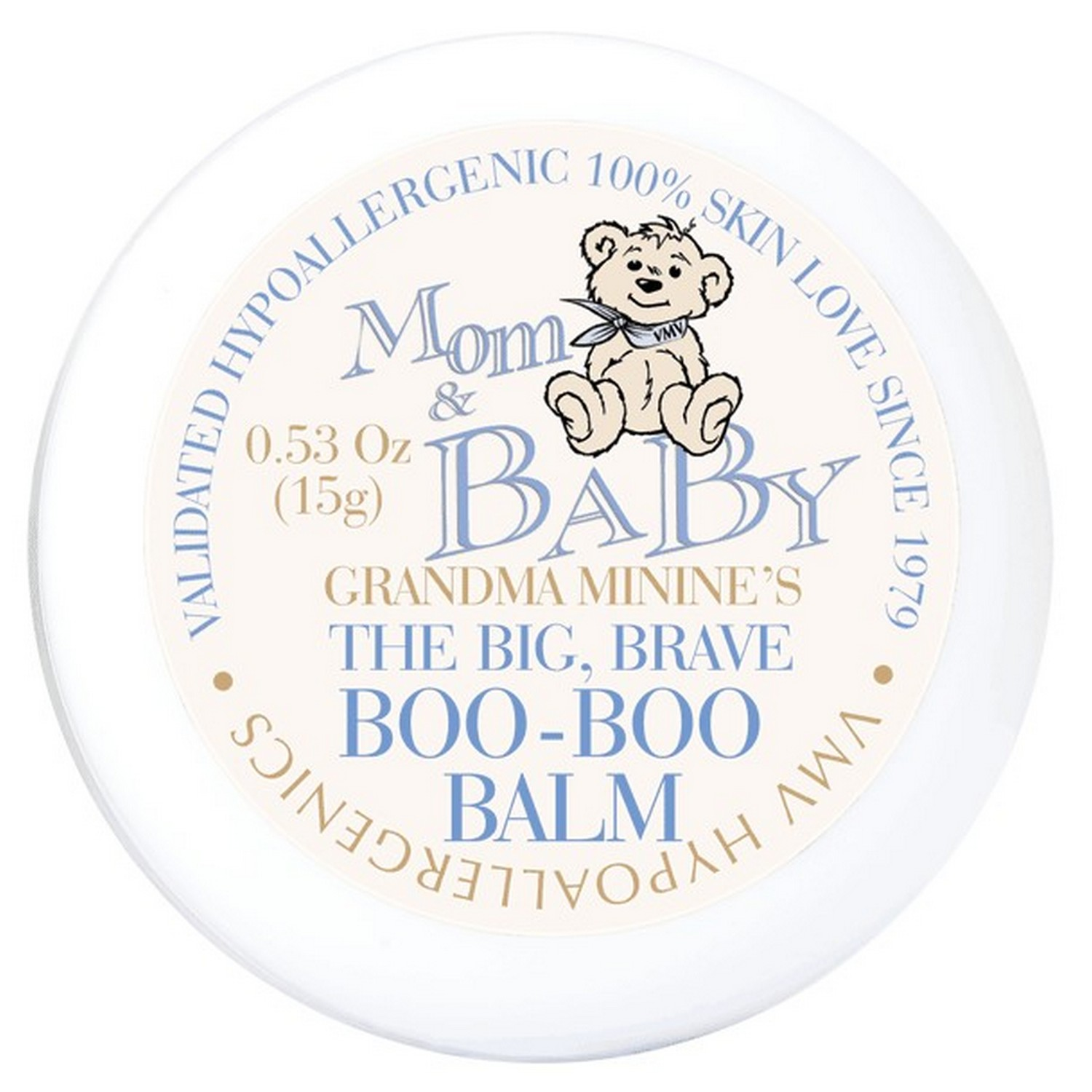 """""""VMV Hypoallergenics Grandma Minnie's The Big, Brave Boo-Boo Balm is a best-selling, multi-functional formula that quickly works to soothe and heal the skin."""""""