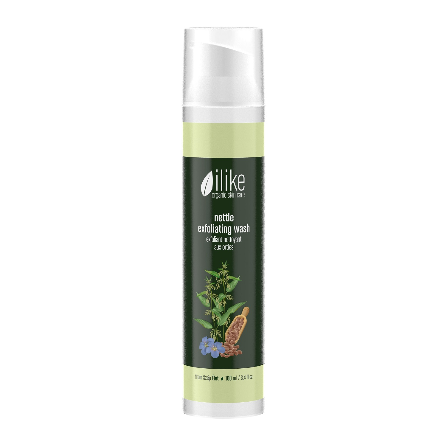 ilike organic skincare nettle exfoliating wash (100 ml / 3.4 fl oz)