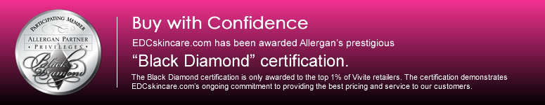 EDCskincare.com has been awarded Allergan's prestigious Black Diamond certification as a top 1% Vivite Retailer.