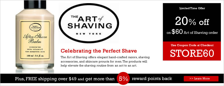 The Art of Shaving sells shaving kits with shaving creams, aftershaves, cleansers, lotions, exfoliants, and toners that make your shave clean and smooth. Today's The Art of Shaving Offers Total Offers.