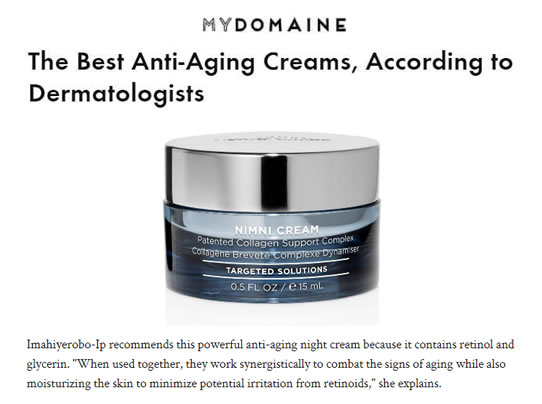 HydroPeptide Nimni Cream Patented Collagen Support Complex as seen in My Domaine