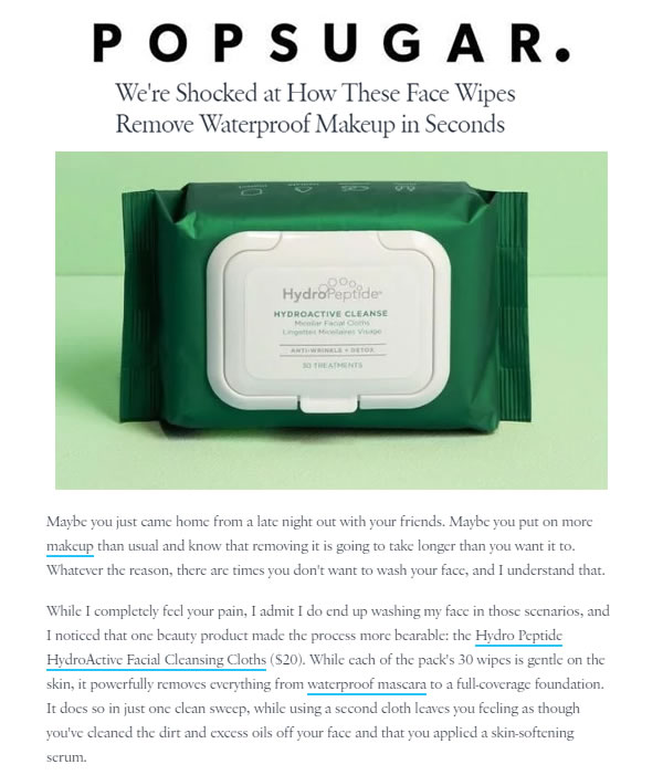 HydroPeptide HydroActive Cleanse Micellar Facial Cloths as seen in Popsugar