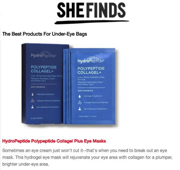 HydroPeptide PolyPeptide Collagel+ Eye Masks as seen in She Finds