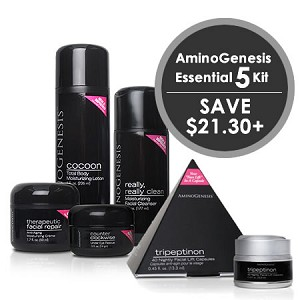 AminoGenesis Essential 5 Kit (Full Size) (Step 1-4 and Tripeptinon) (All Skin Types) ($231 value)
